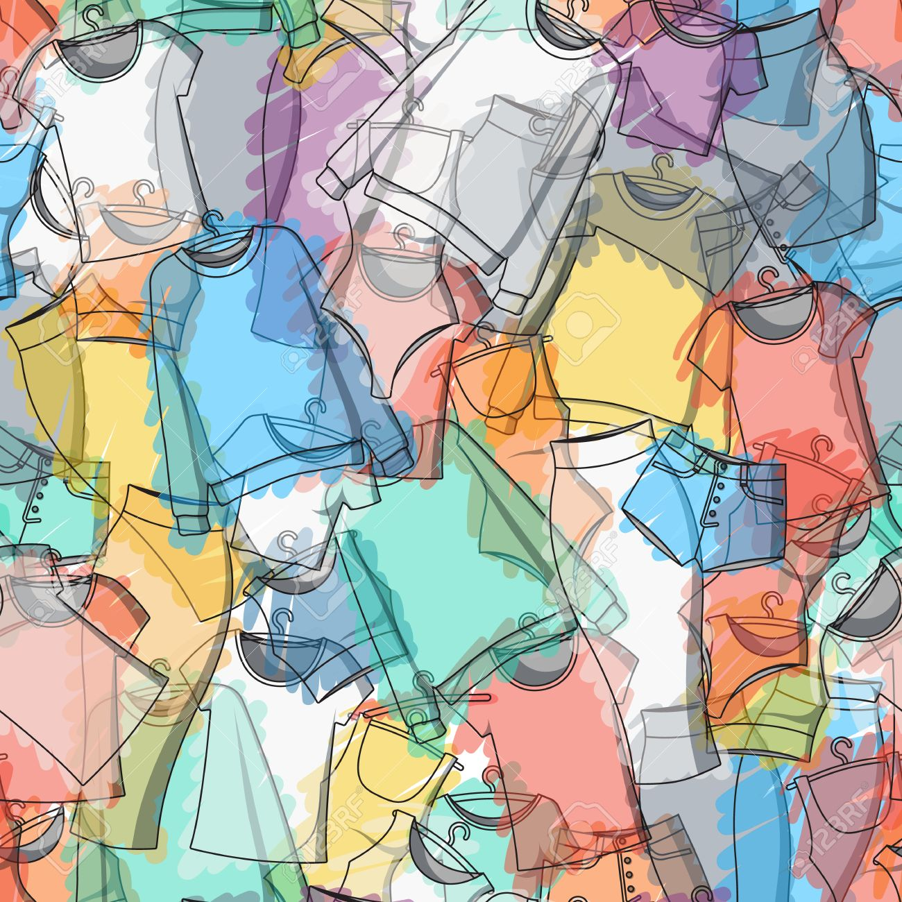 Seamless Pattern Of Colorful Clothes For Stylish Design Transparent Royalty Free Cliparts Vectors And Stock Illustration Image 43412570