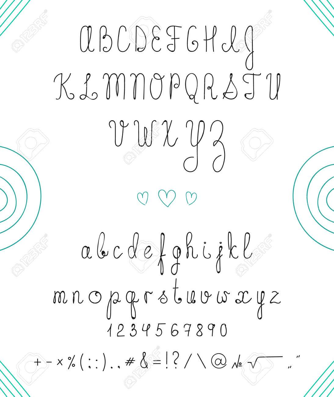 Set Capital English Handwriting Font Handmade Letters Numbers Signs And Symbols