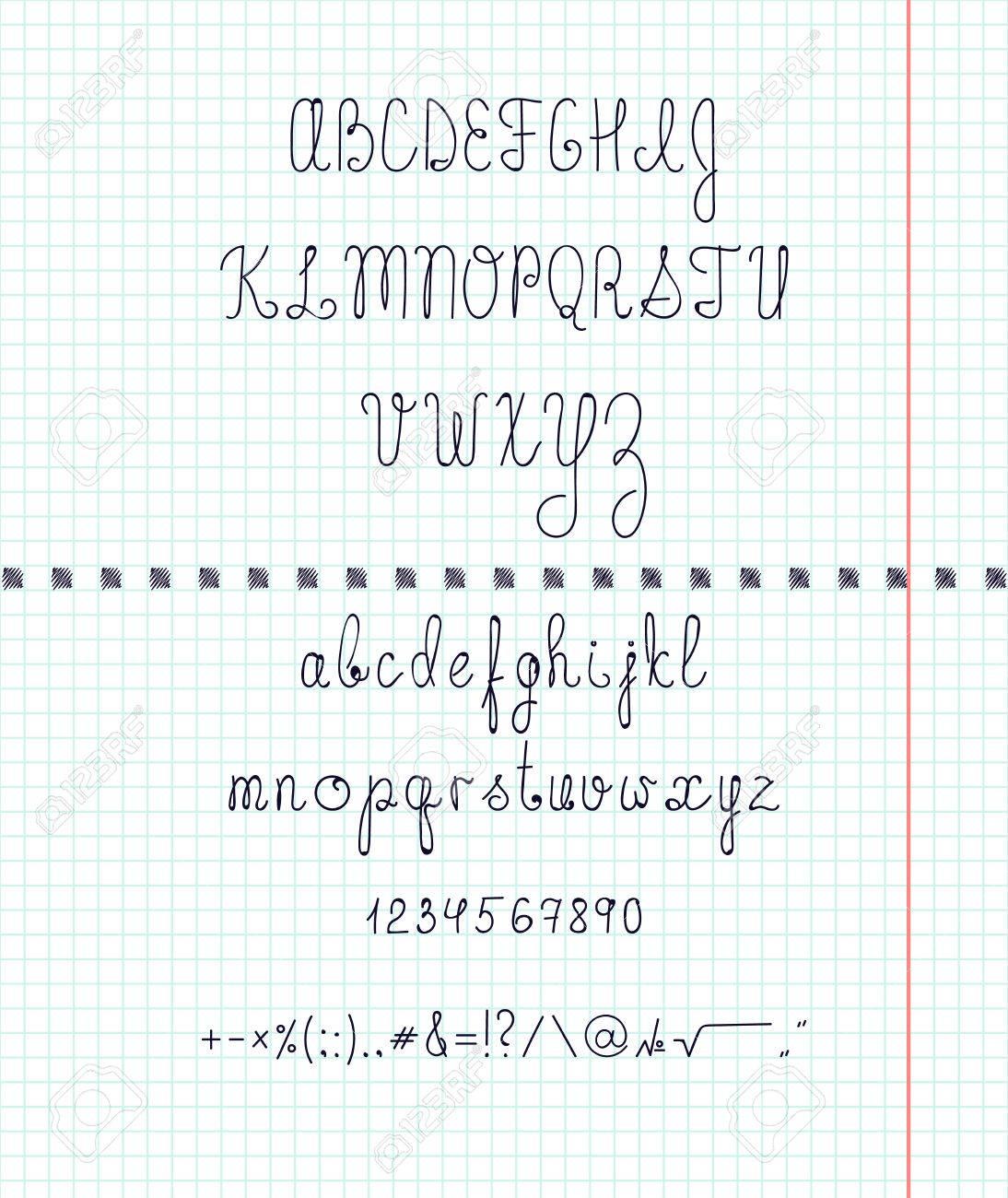 紙の上の資本の英語の手書きフォントを設定します手作りフォント文字