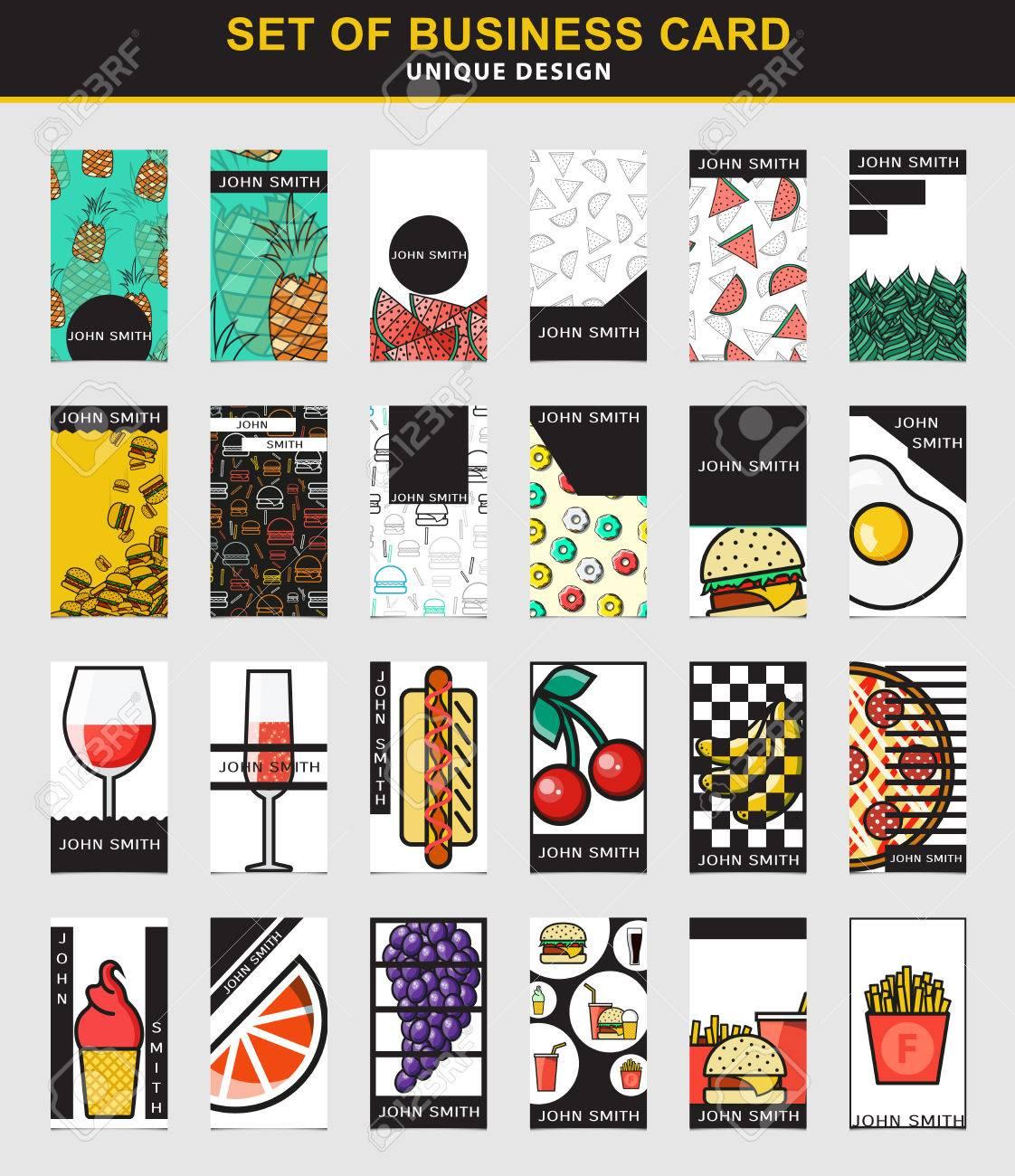 Les Cartes Daffaires Avec De La Nourriture Fruits Sur Une Carte Visite Pour Restauration Rapide