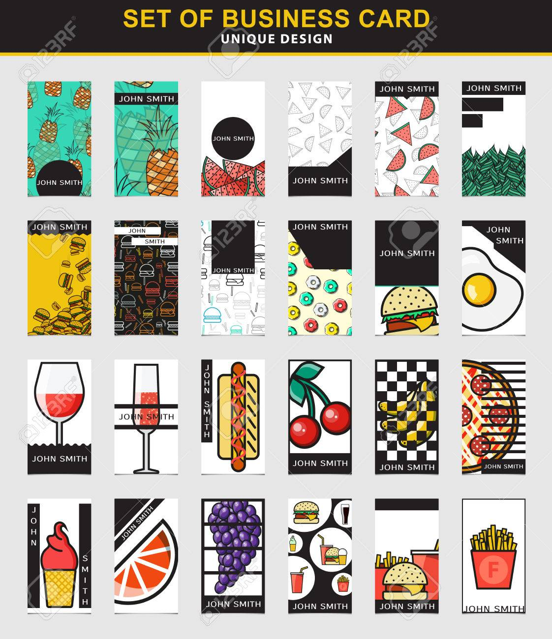 Set Of 24 Stylish Business Card Design For The Food Industry ...