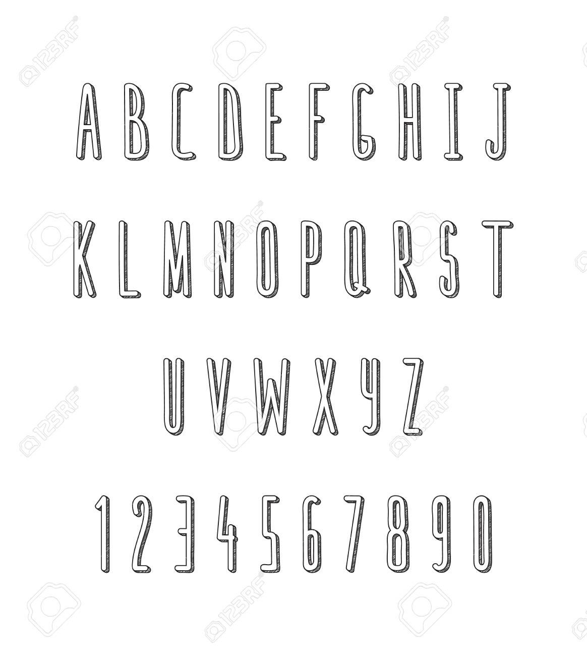 Sketch Font Doodle Animation Design Volume Letters Handmade Hand Drawn Alphabet Monochrome