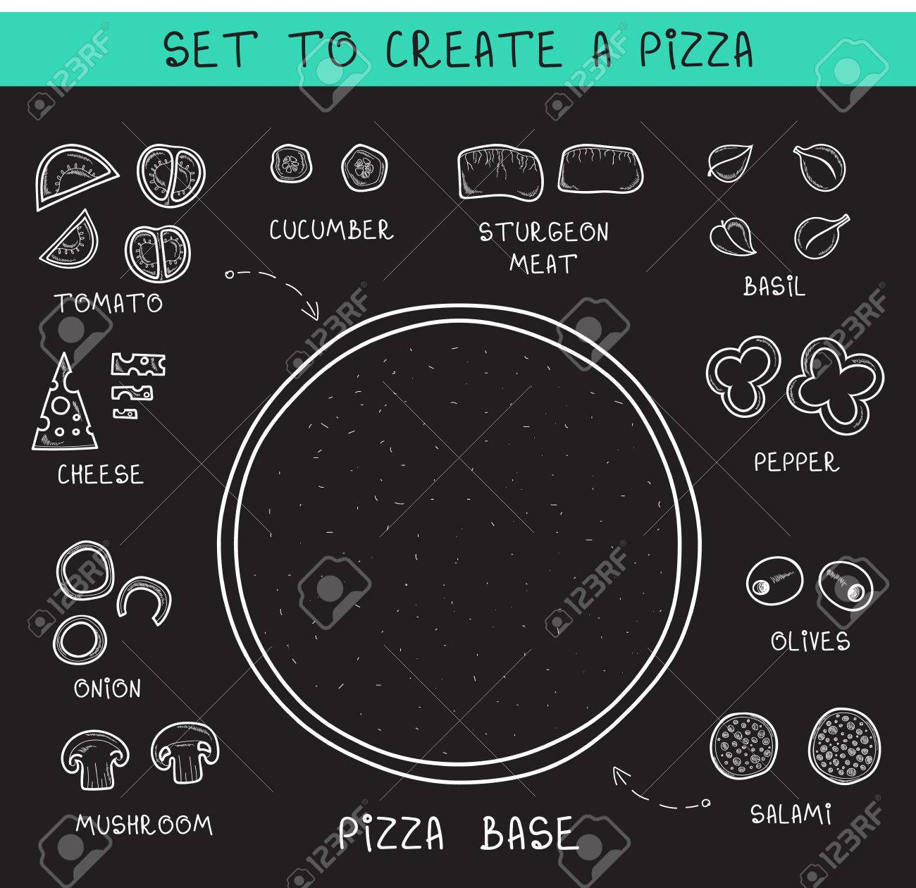 doodle set ingredients of chalk to create pizza template pizza