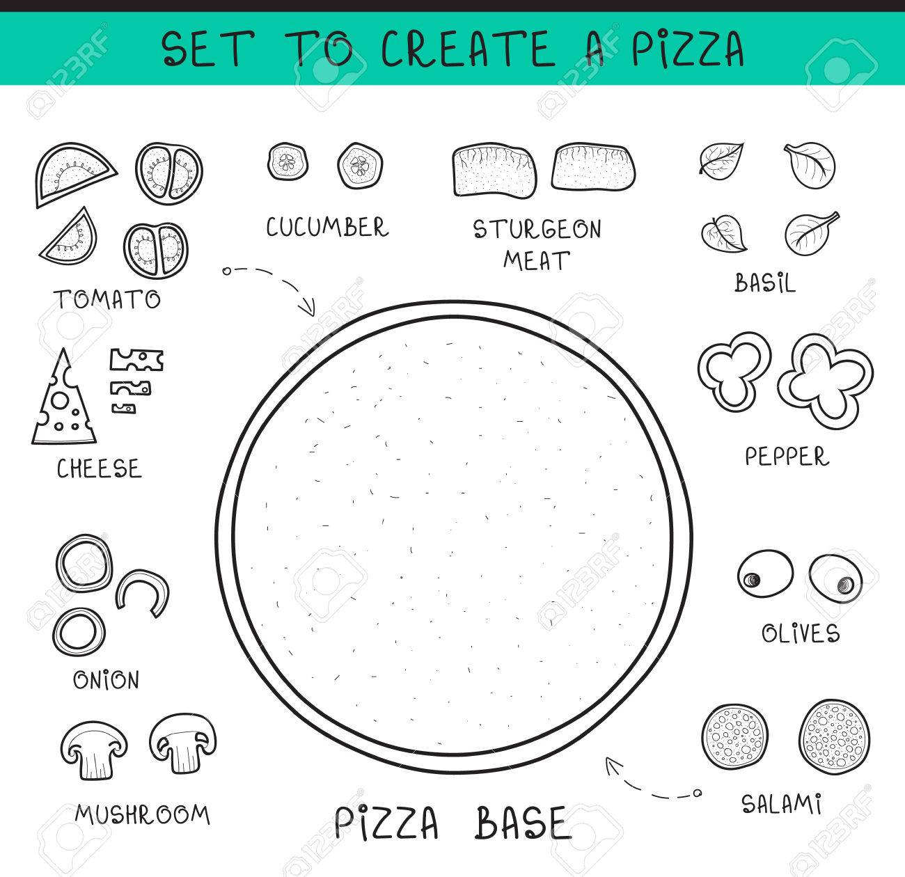 doodle set of ingredients to build pizza template pizza sliced