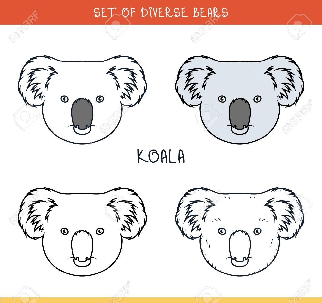 Oso Koala. Conjunto De Cabezas Aisladas De Oso En El Color, Líneas ...