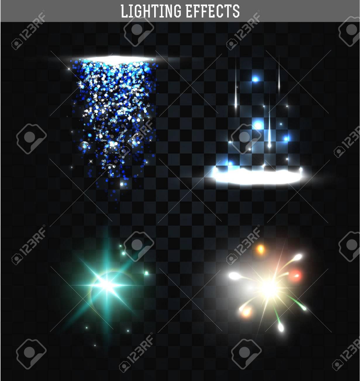 Set Van Verlichting Geïsoleerde Effect. Magie, Heldere, Briljante ...