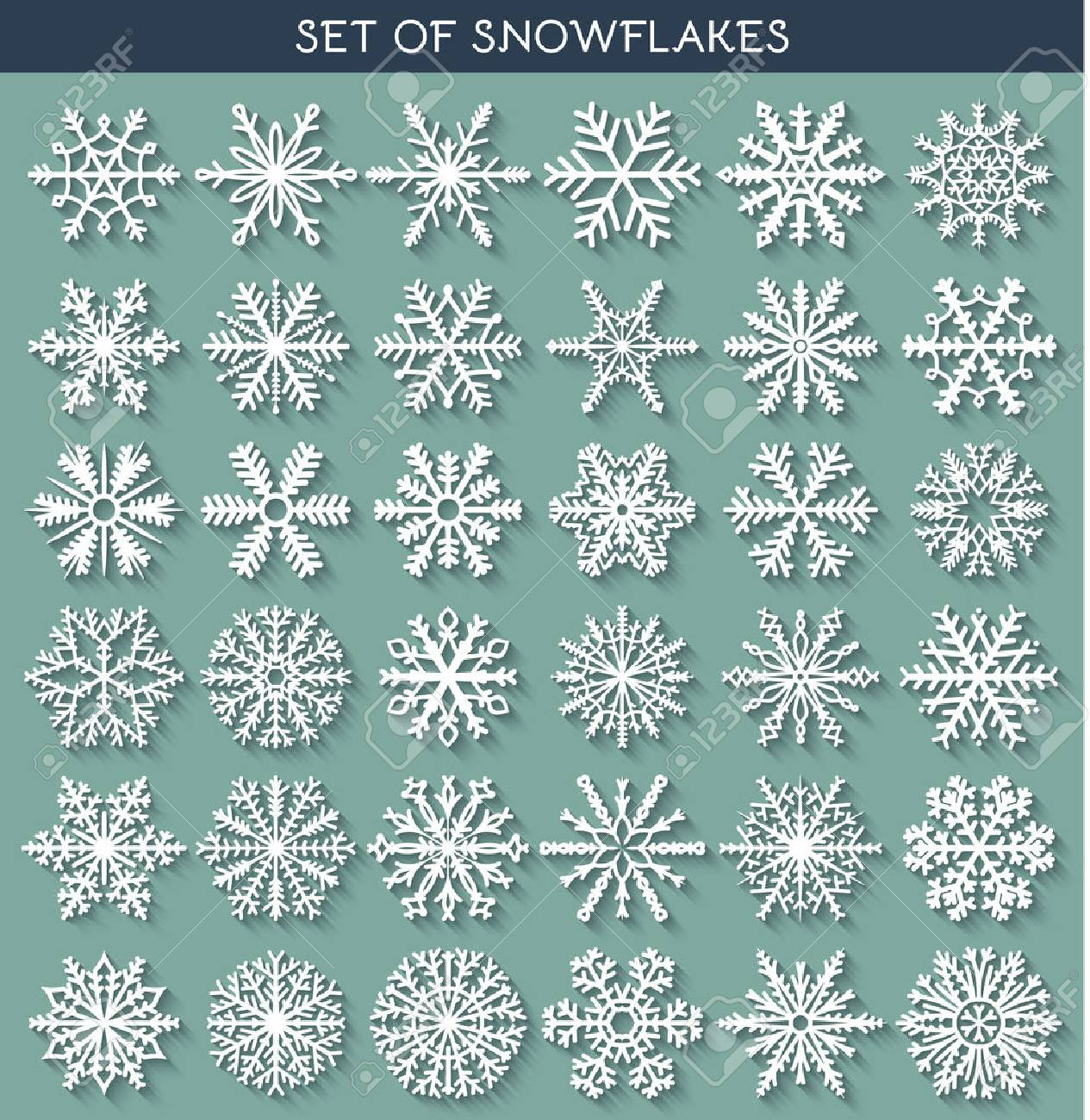 Set 36 white different snowflakes of handmade with long shadow. Snowflake Flat. New Year's symbols. Snowflakes for design. Winter objects. Festive elements. Snowflake Doodle. Snowflake Sketch - 46667596