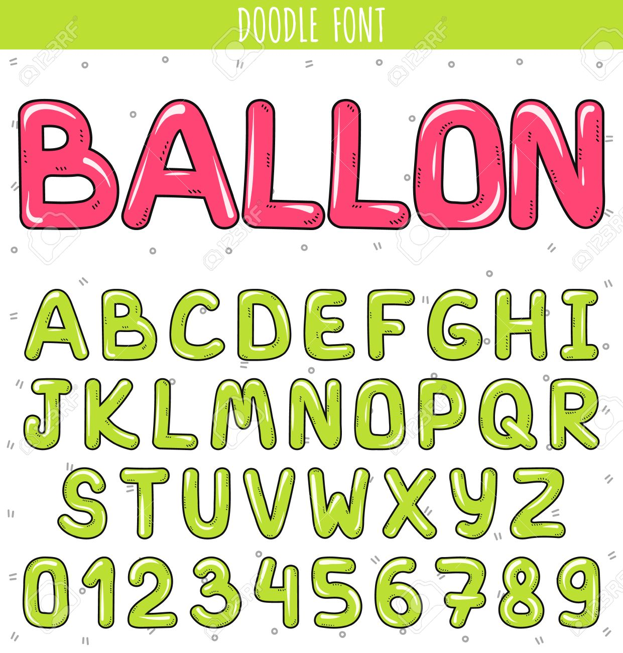 Font Ballon. Set Volume Of Letters And Numbers In The Doodle ...