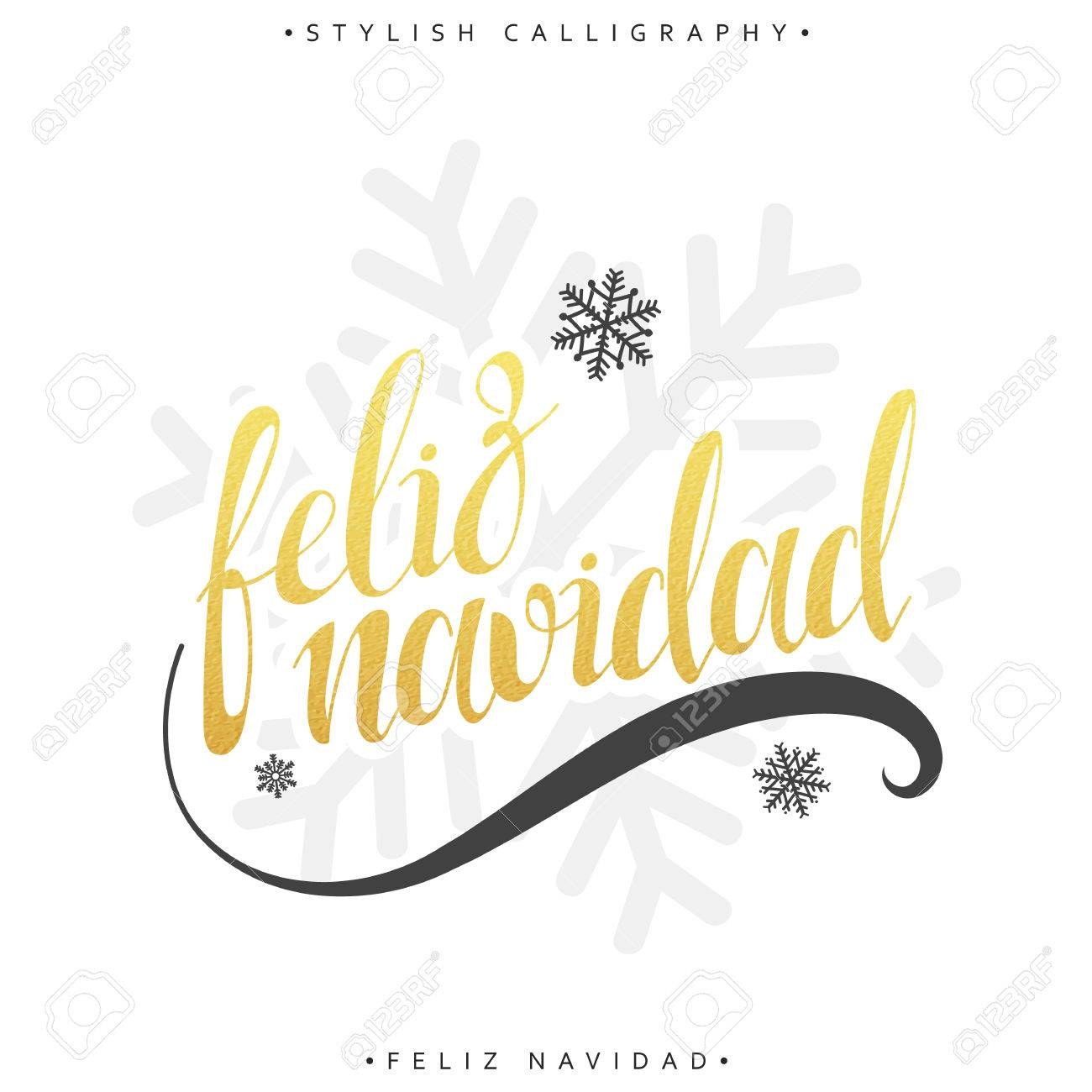 Merry Christmas Card With Greetings In Spanish Language. Feliz ...