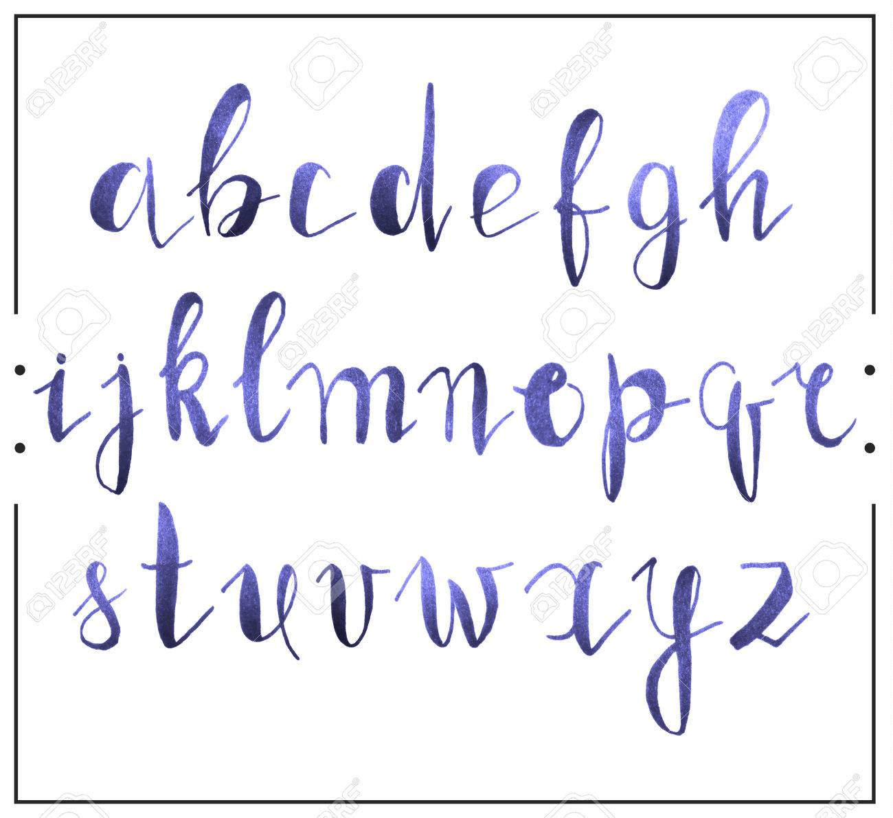 Handwritten Calligraphic Font Alphabet Written By A Marker With Realistic Texture Uppercase