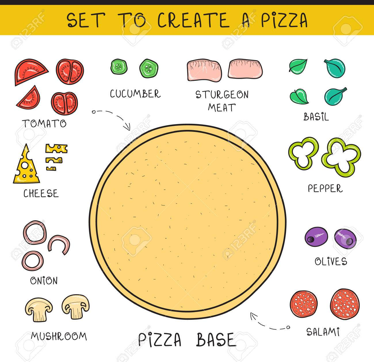 Unusual 010 Editor Templates Big 1 Inch Hexagon Template Clean 10 Envelope Template Illustrator 100 Day Glasses Template Young 100th Day Hat Template Gray1096 Template Doodle Set Of Ingredients To Build Pizza. Template Pizza. Sliced ..
