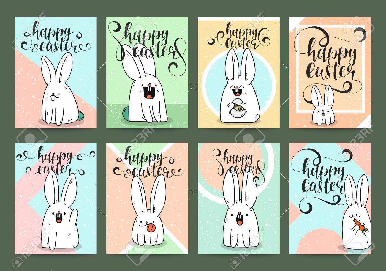 Un Conjunto De Diseños Ya Hechos Para La Tarjeta De Felicitación De Pascua De Impresión Postales De La Caligrafía Invitación Con Un Conejo Diseños