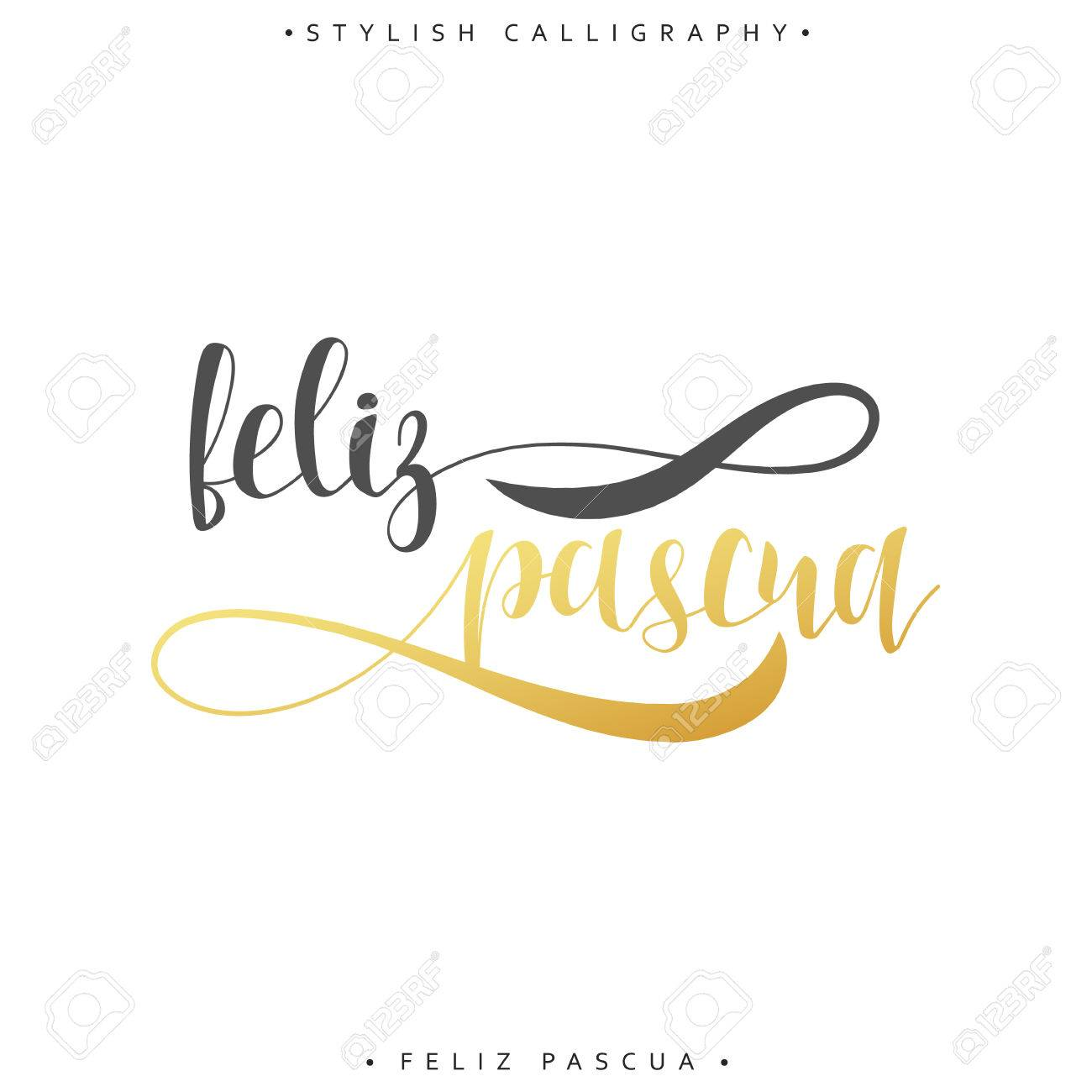 Feliz Pascua Greeting Inscription Happy Easter In Spanish Holiday