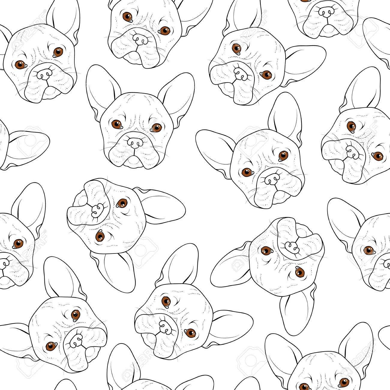 Coloriage Chien Realiste.Seamless Avec Mignon Croquis Bulldog Main Chien Realiste Coloriage Monochrome Avec Bulldog Imprimer Pour L Impression Sur Textile Chiens De Race