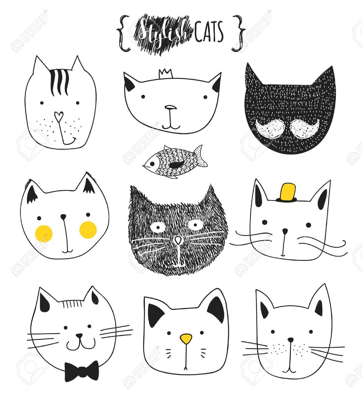 Set of cute doodle cats . Sketch cat . Cat Sketch . Cat handmade..
