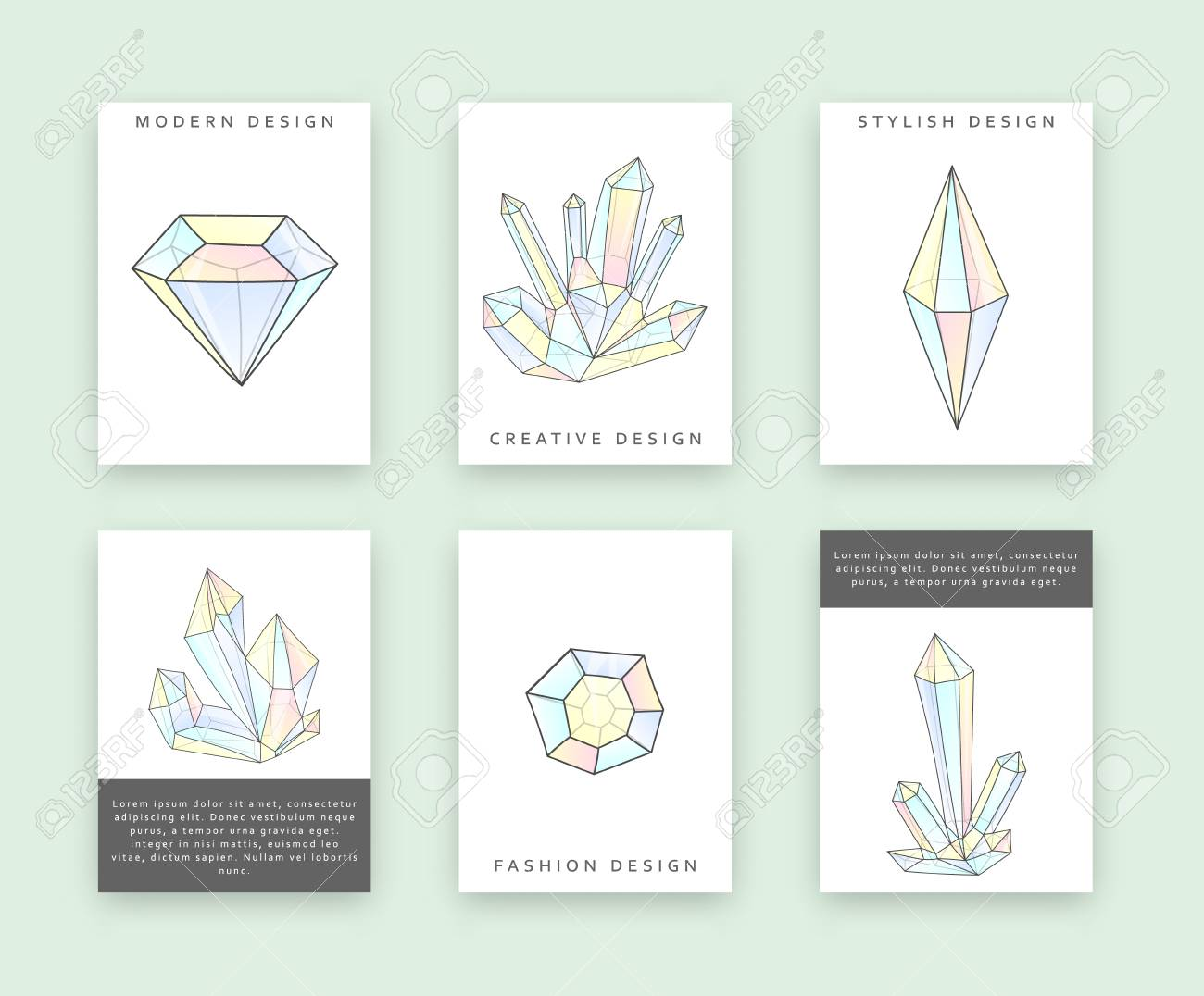 Set Of Templates For Printing With Crystals And Diamonds Rhinestones Doodle Print Design