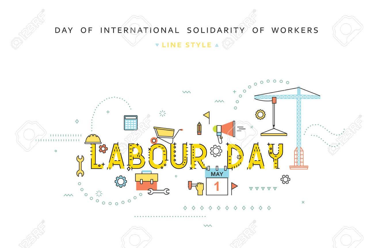 労働の日はライン フラット スタイルのコンセプトを設計します お祝いの労働 労働の日のご挨拶 労働者の国際的な連帯の日 5 月 1 日 フラット スタイルのビジネス コンセプトのイラスト素材 ベクタ Image