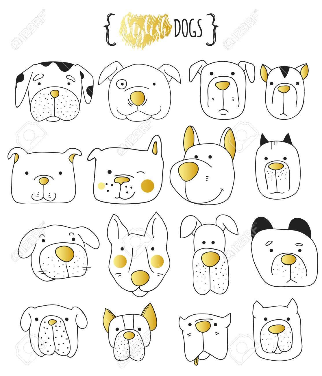 - Set Of 16 Cute Dogs Doodle . Sketch Dog . Dog Handmade . Dogs
