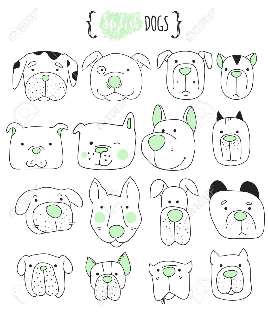 Set Of 16 Cute Dogs Doodle Sketch Dog Dog Handmade Dogs Royalty Free Cliparts Vectors And Stock Illustration Image 54197811