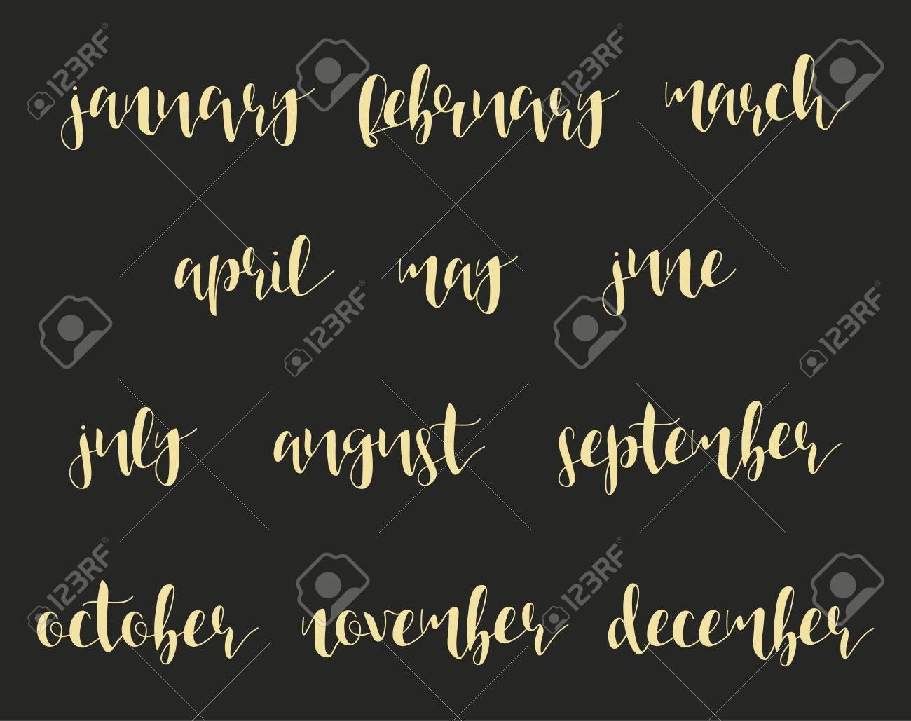 12 Nombres De Los Meses En La Caligrafía Invierno Y Verano Primavera Y Otoño época Del Año Frase En Inglés Caligrafía A Mano Estilo Caligrafía