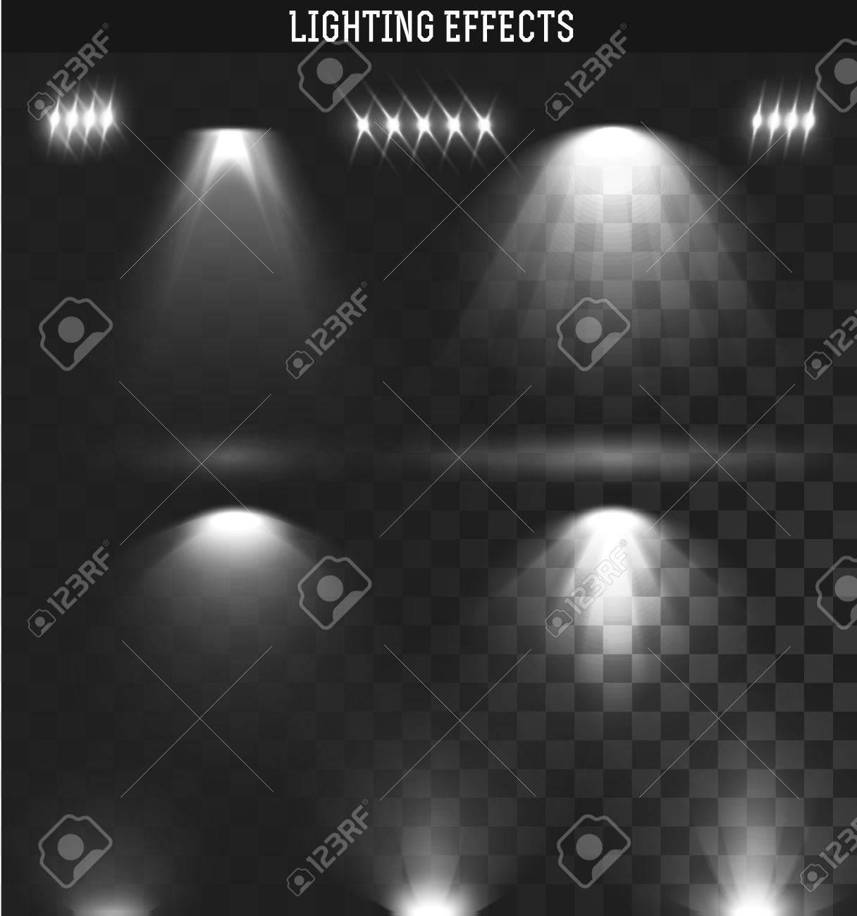 conjunto de efectos de luz ies luz del proyector aislado realista iluminacin ies