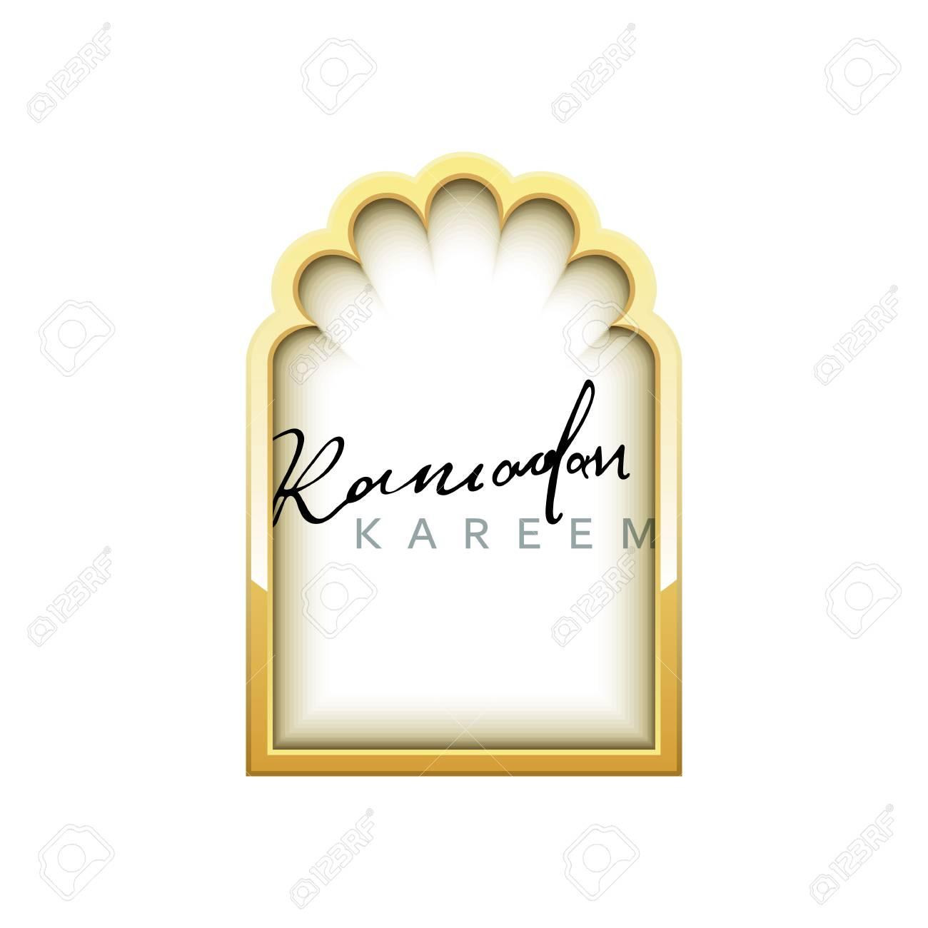 Ventanas árabes Diseño De Oro Para El Ramadán Kareem Plantilla ...