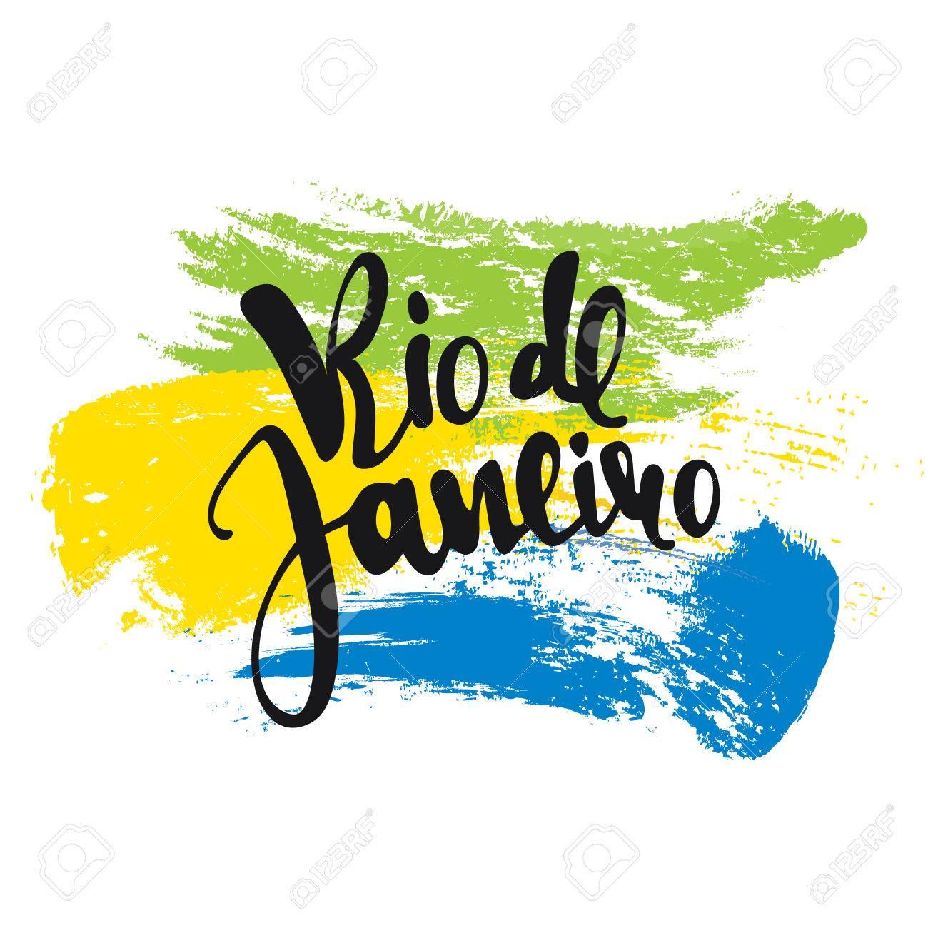 Handmade watercolor brazil flag brasil stock photos freeimages com - De Janeiro Inscription Background Colors Of The Brazilian Flag Calligraphy Handmade Greeting Cards