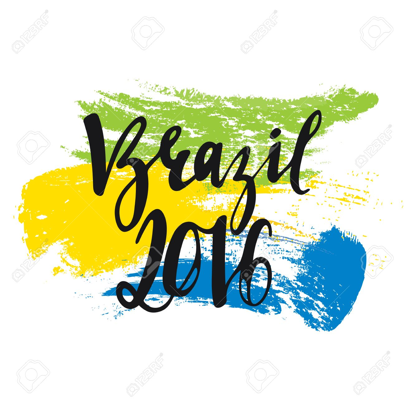 Handmade watercolor brazil flag brasil stock photos freeimages com - Inscription Brazil 2016 Background Colors Of The Brazilian Flag Calligraphy Handmade Greeting Cards