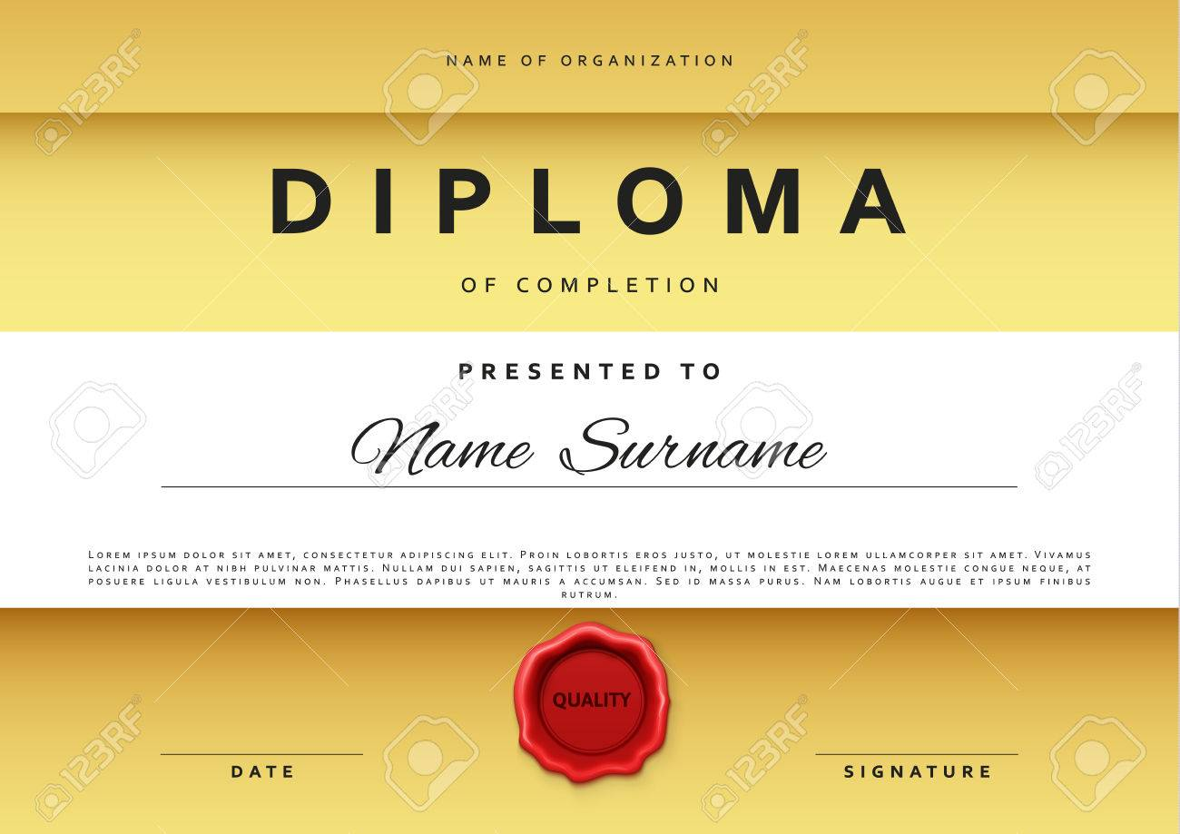 Template certificate design in gold color award certificate template certificate design in gold color award certificate in flat style diploma frame awarding yadclub Gallery