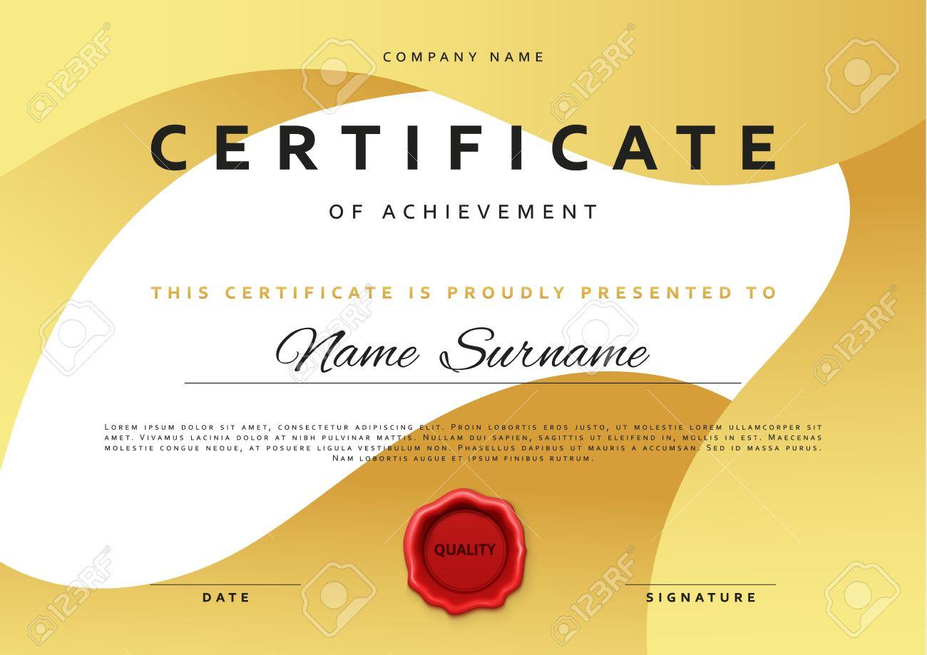 Template Certificate Design In Gold Color. Award Certificate ...
