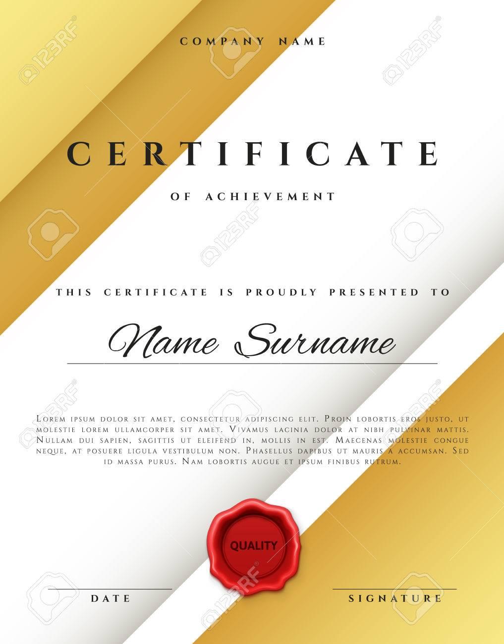 template certificate design in gold color award certificate
