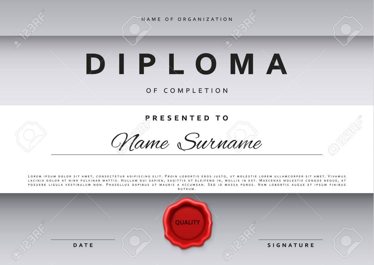 template certificate design in silver color award certificate in a flat style diploma frame
