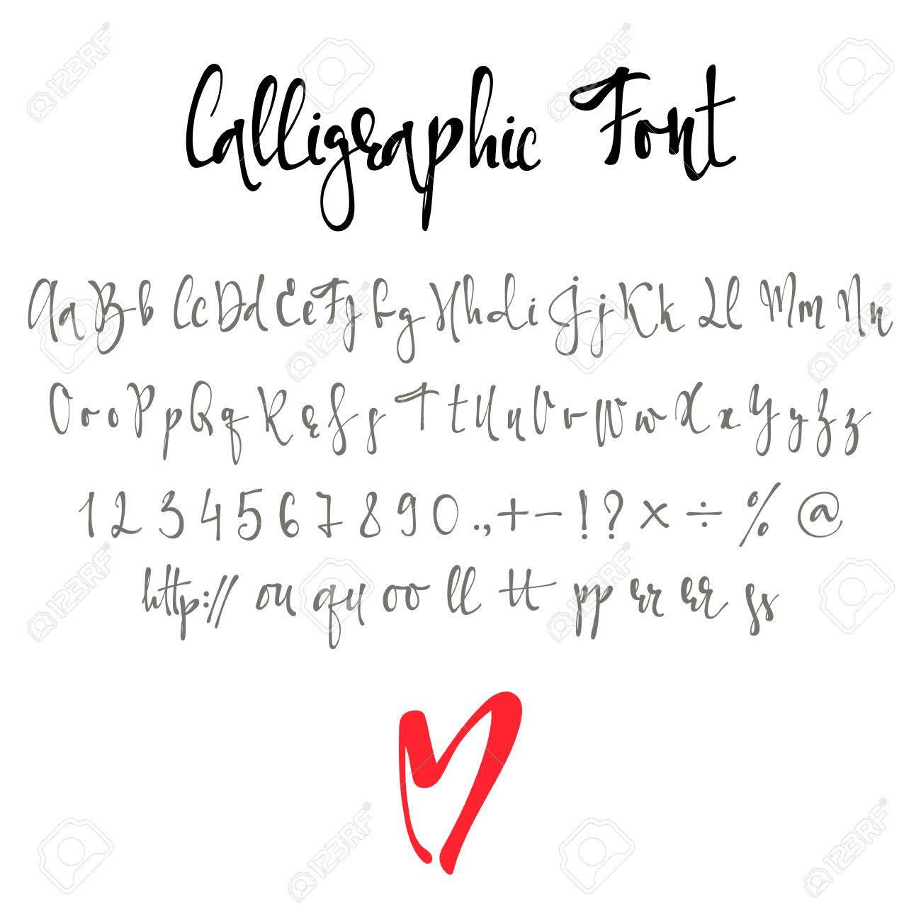 Calligraphic Font With Numbers Ampersand And Symbols Modern Alphabet Letters