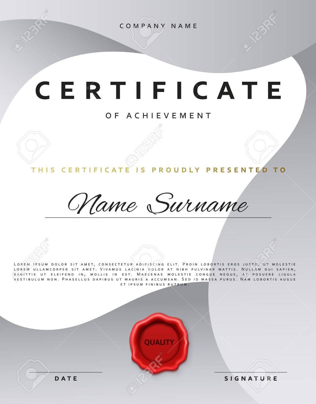 Template Certificate Design In Silver Color. Award Certificate ...