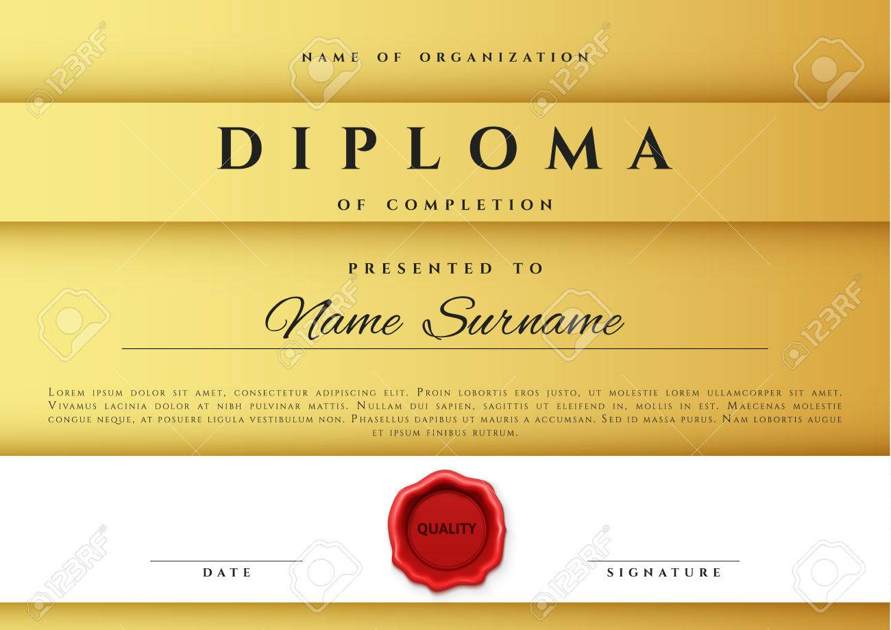 template certificate design in gold color award certificate in flat style diploma frame awarding