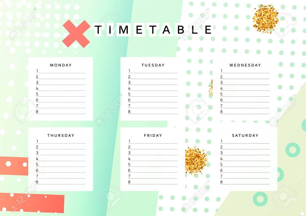 Schedule The Week Abstract Design Background Template Info Organizer Blank