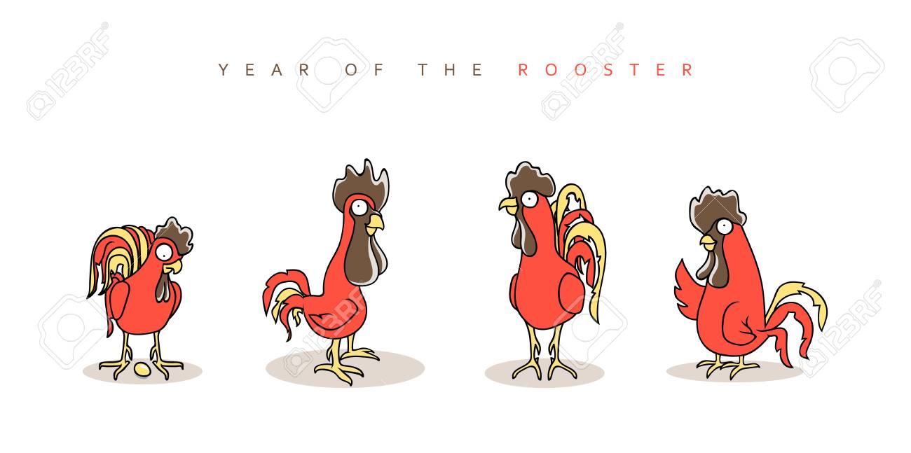 Rooster red chinese new year symbol 2017 funny rooster and chinese new year symbol 2017 funny rooster and hen in doodle style buycottarizona Gallery