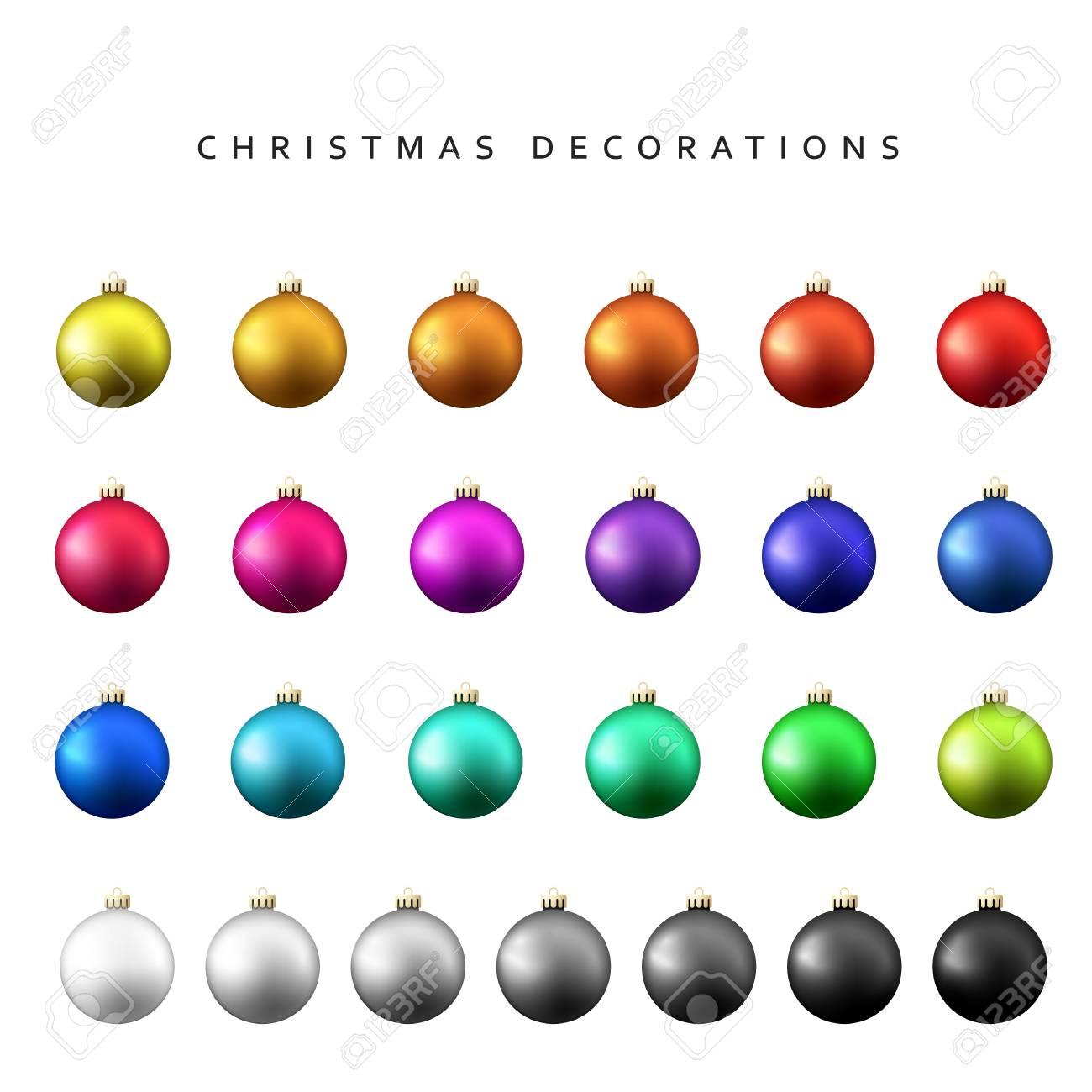 Noël Boules De Décoration Vont. Gloss Boules De Noël Isolé Sur Un