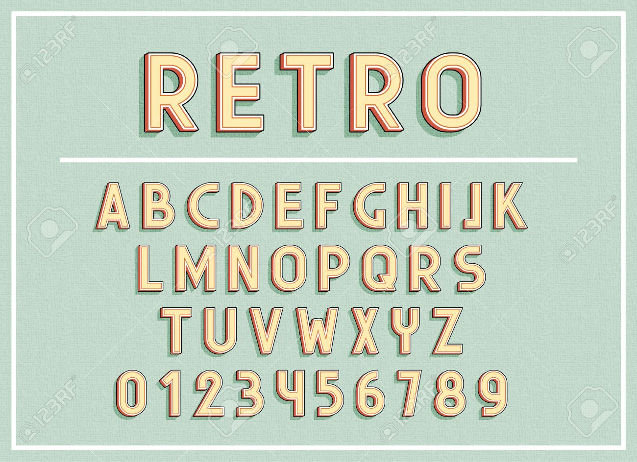 Retro fonts and abc letters print typography vector Illustration