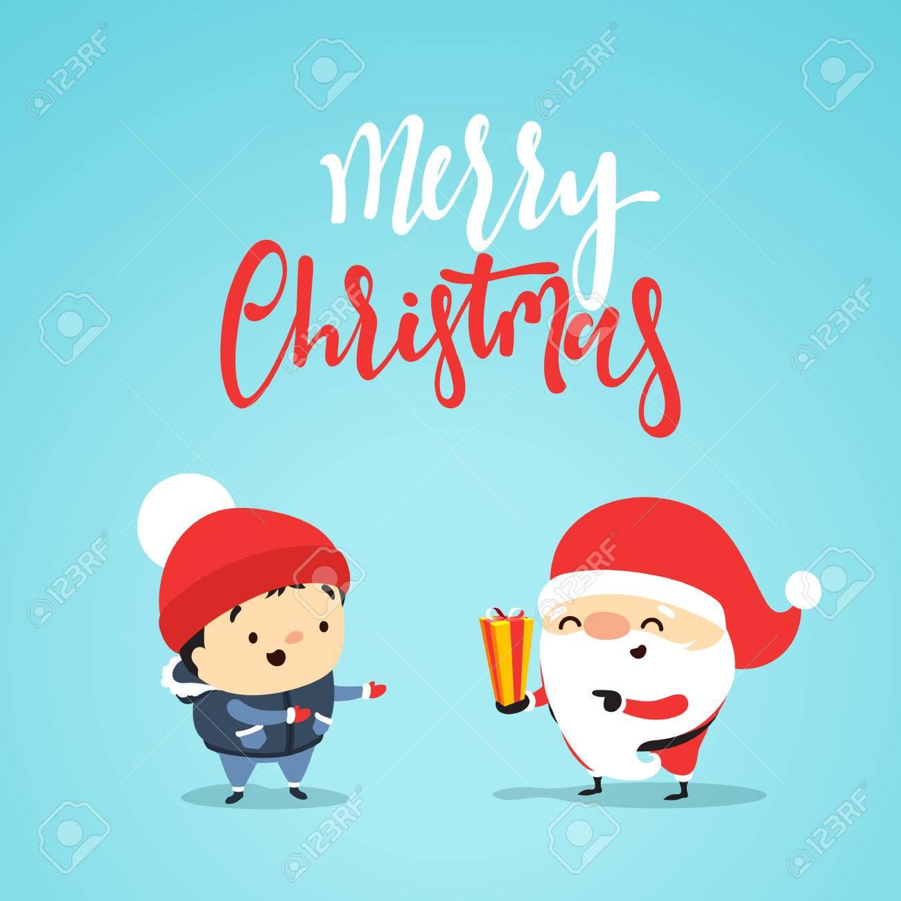 Biglietti Di Natale Divertenti.Vettoriale Babbo Natale Da Regalo Al Bambino Piccolo Un Ragazzo