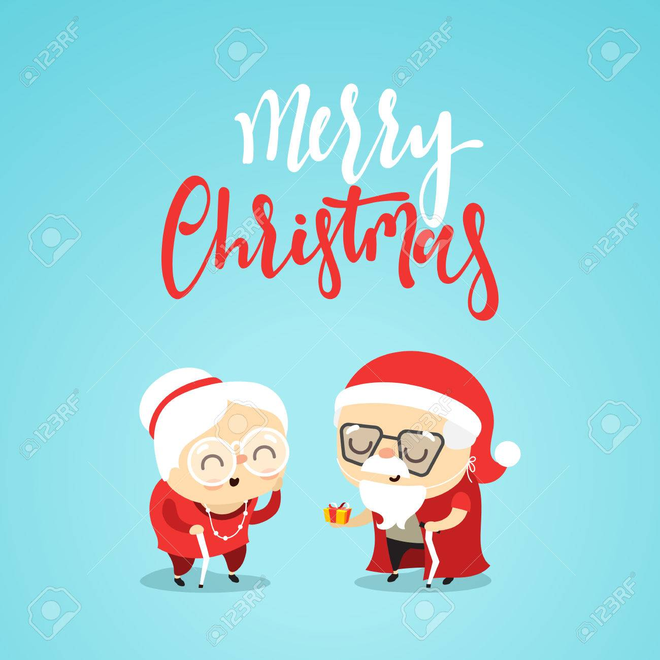 An Elderly Couple At Christmas Give Gifts. Characters Cute Funny ...