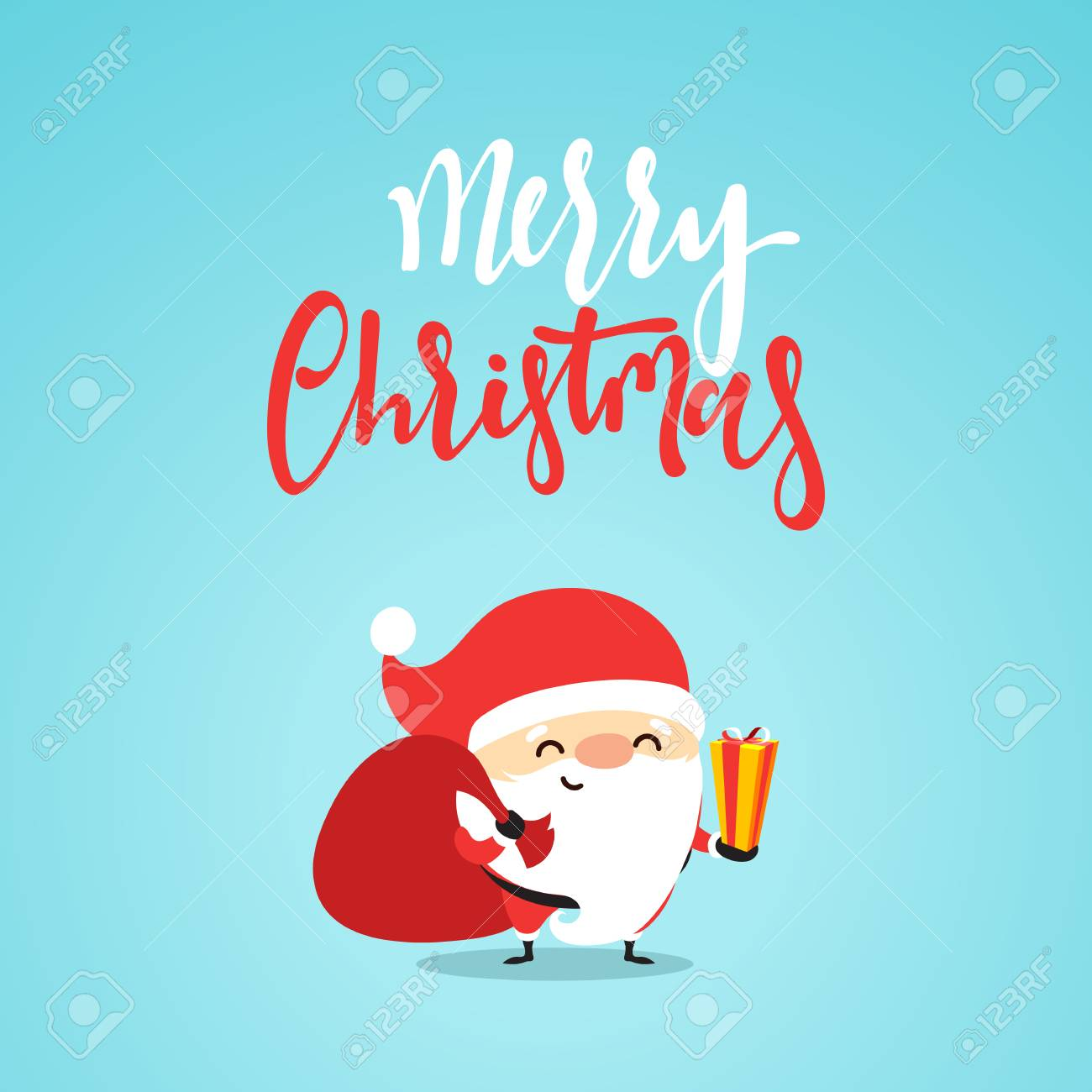 Santa Claus With Gifts. Cartoon Character For Christmas Cards ...