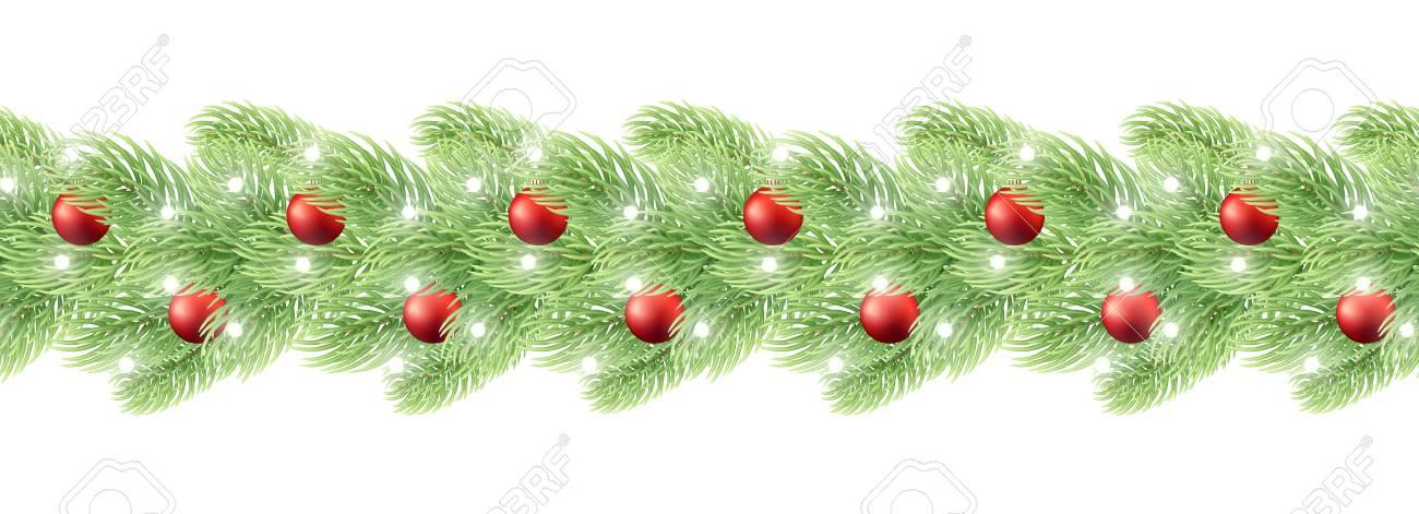 Decorazioni Di Natale Disegni.Decorazioni Di Natale Ghirlanda Senza Soluzione Di Continuita Realistico Disegno Elemento Ghirlanda Con Palline Di Natale Per Gli Sfondi Disegno