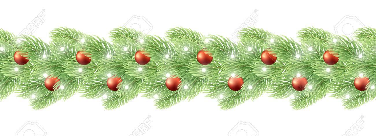 Decorazioni Natalizie Per Biglietti Di Auguri.Vettoriale Decorazioni Di Natale Ghirlanda Senza Soluzione Di Continuita Realistico Disegno Elemento Ghirlanda Con Palline Di Natale Per Gli Sfondi Disegno Biglietto Di Auguri Ornamenti Di Natale Per Le Vacanze Image 66689334