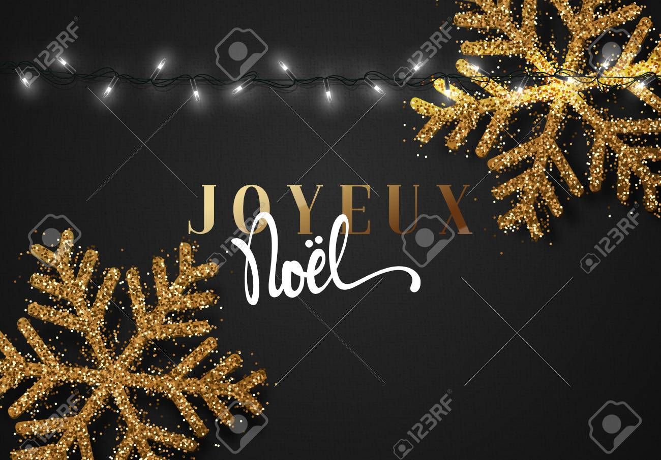 merry christmas french inscription joyeux noel christmas background black color with realistic garlands