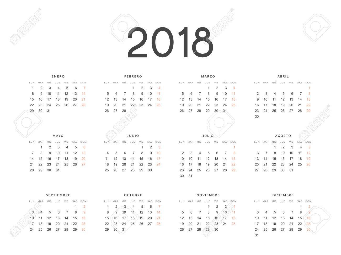Calendario In Spagnolo.Modello Semplice Per La Stampa Del Calendario Moderno 2018 In Spagnolo La Settimana Inizia Da Lunedi