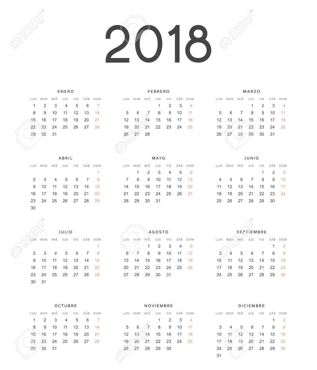 foto de archivo plantilla simple para imprimir calendario moderno 2018 en espaol la semana comienza el lunes