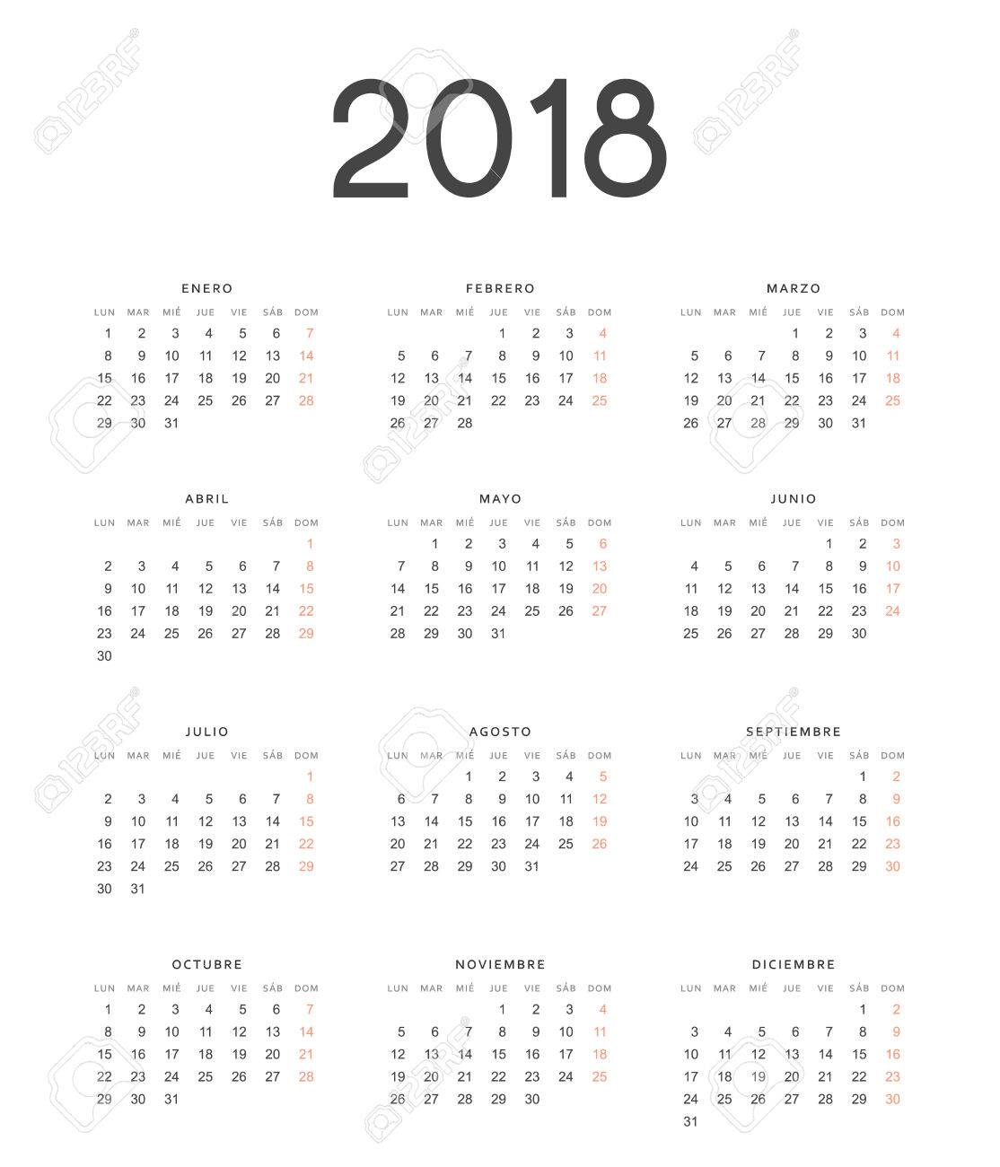 simple template for printing modern calendar 2018 in spanish week starts from monday stock