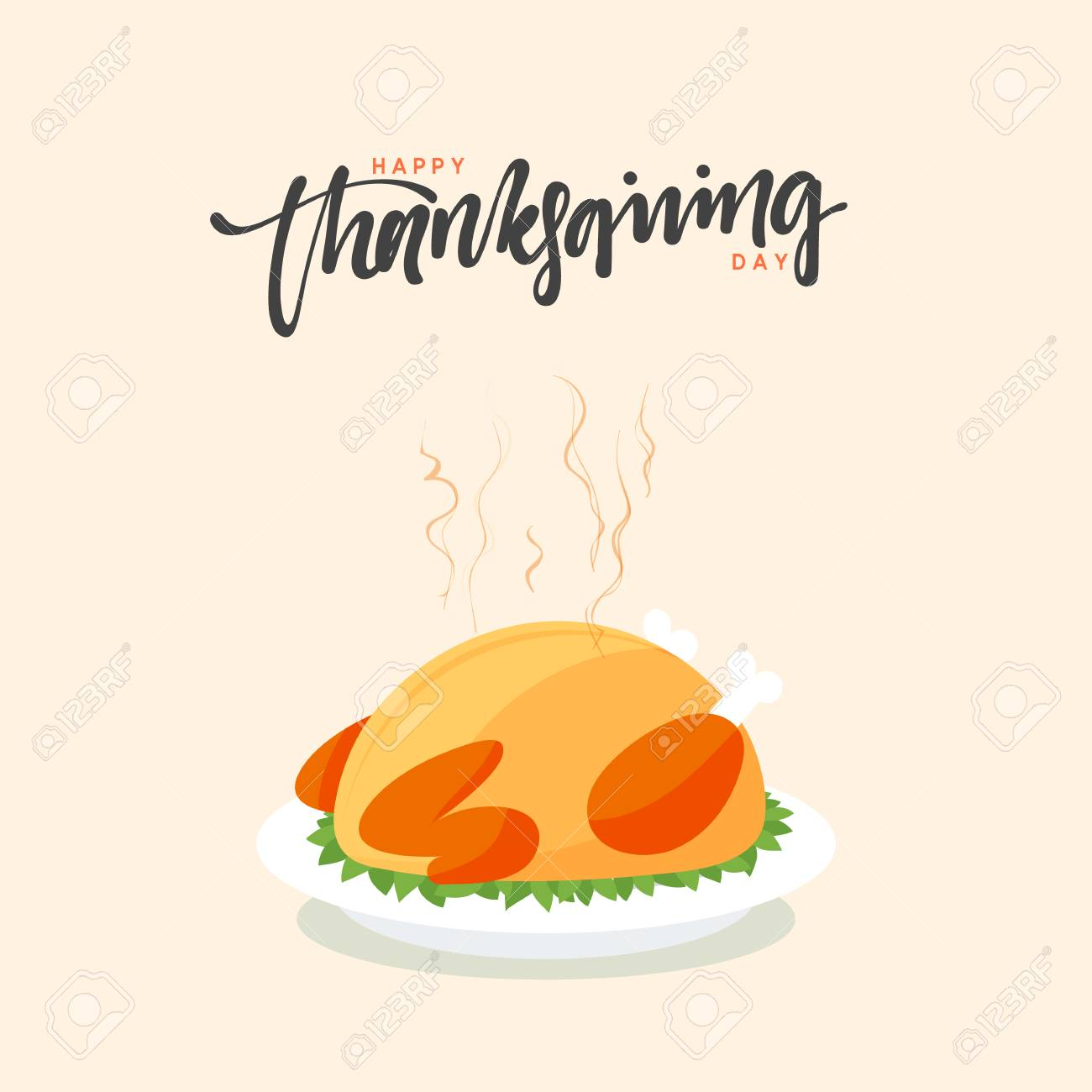 happy thanksgiving template with roasted turkey dish illustration