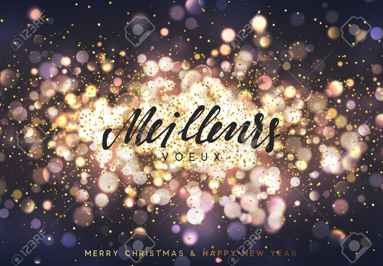 Meilleurs Voeux Joyeux Noel Christmas Background With Golden